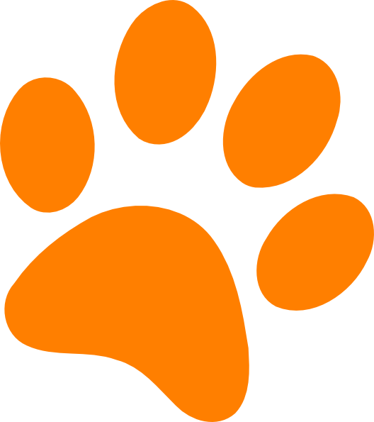 Clipart cat paw print graphic royalty free Orange Paw Print Clip Art at Clker.com - vector clip art online ... graphic royalty free