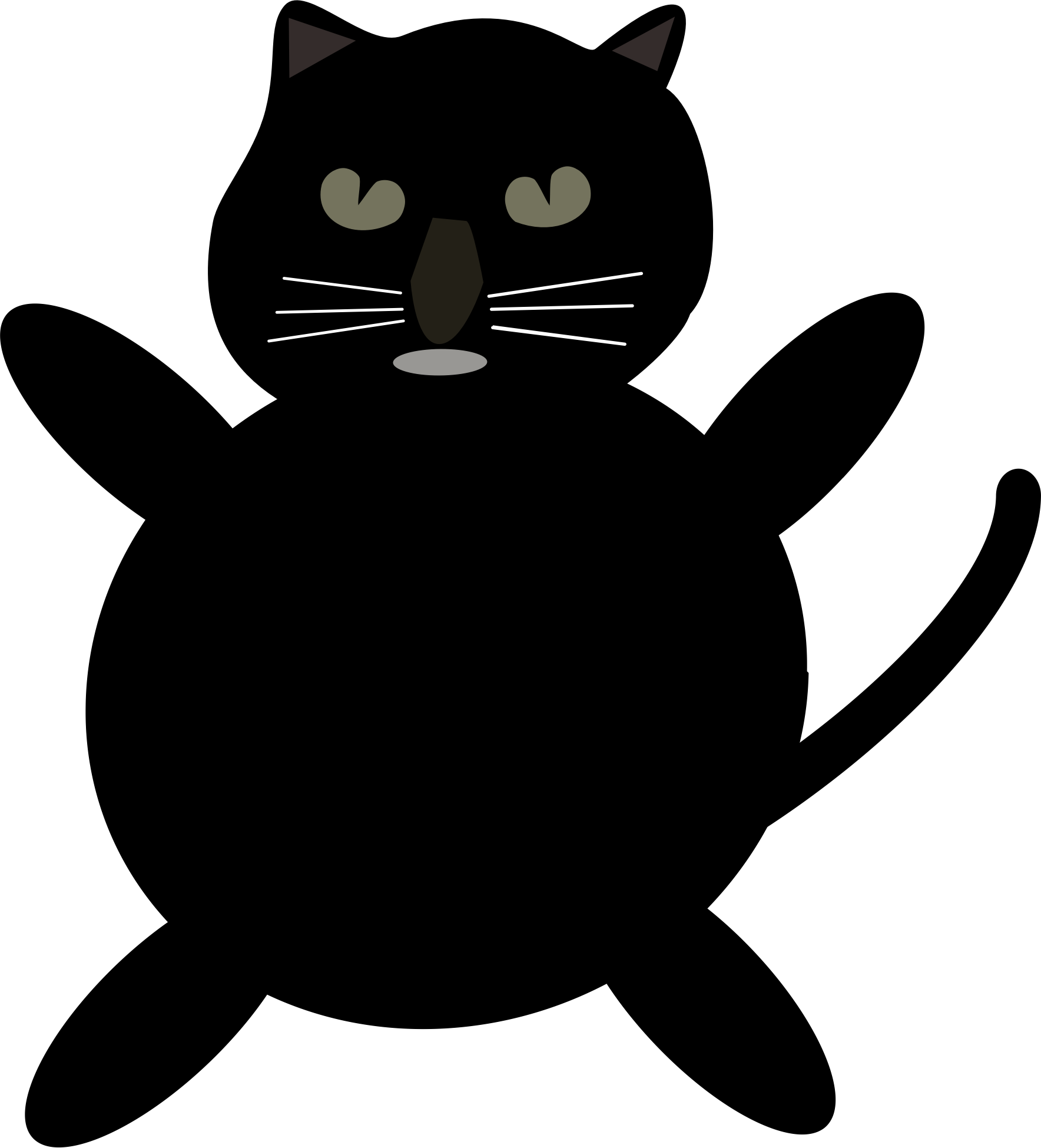 Sleeping black cat clipart svg free library Clipart - black cat cartoon svg free library