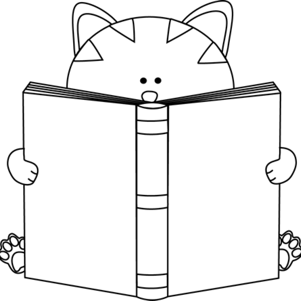 Clipart cat reading a book image freeuse library Cat Clipart Black And White banner clipart hatenylo.com image freeuse library