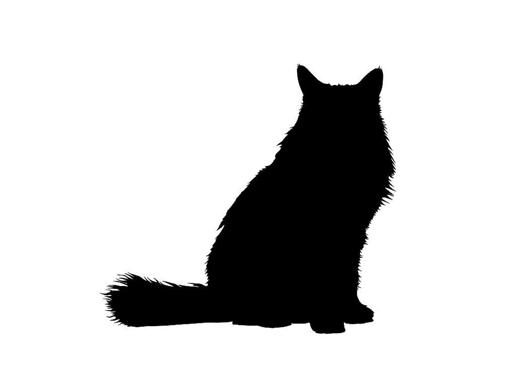 1024x768 Long Haired Cat Clipart | Puppy Love | Cat silhouette ... clip free library