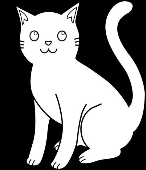 White Cat Clip Art | Kitty Cat Line Art For Coloring | ~I♥Love♥ALL ... png free