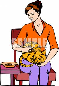 A Cat Sitting on a Woman\'s Lap - Royalty Free Clipart Picture clip freeuse