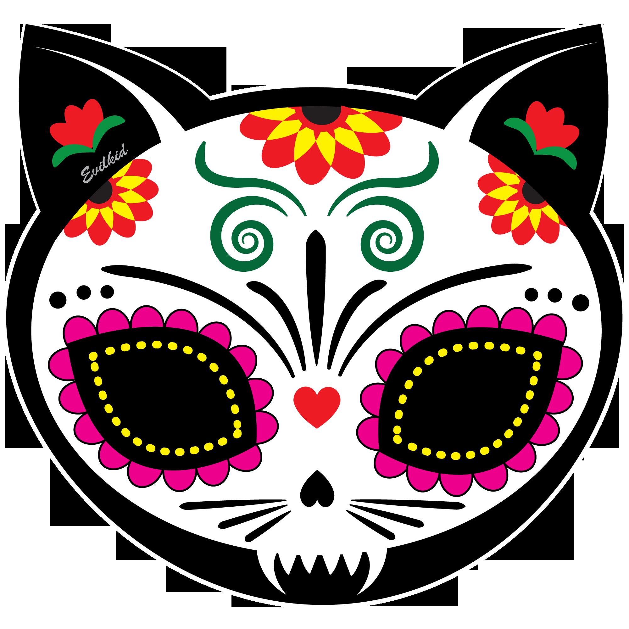 Sugar skull pumpkin clipart png free Gato Muerto cat sugar skull for Dia de los Muertos http://www ... png free