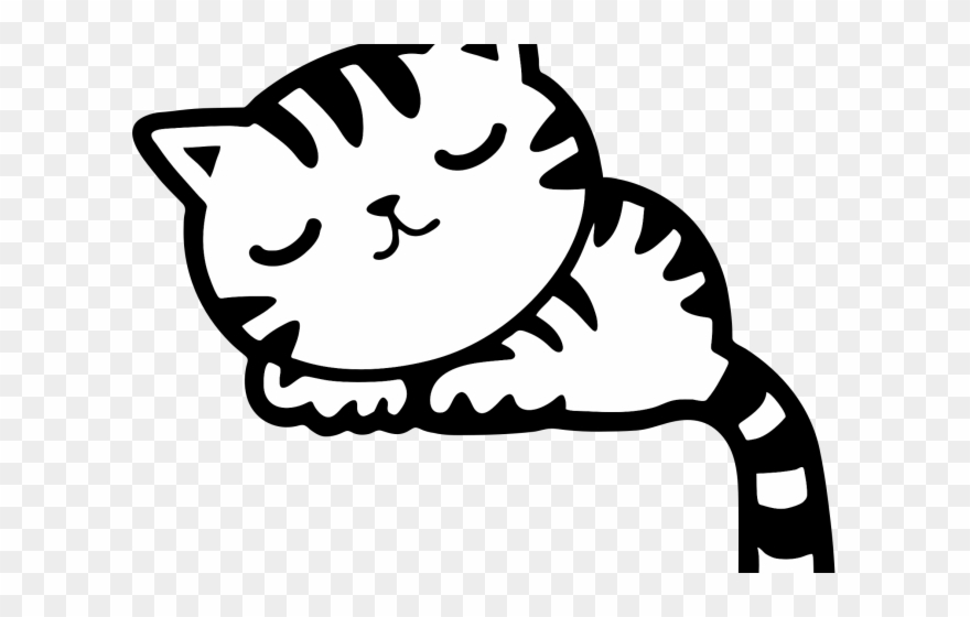 Kitten Clipart Sleeping - Sleeping Cat Clipart Black And White - Png ... banner royalty free library
