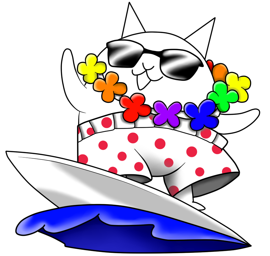 Cat surfer clipart graphic transparent library The Battle Cats - Surfer Cat/Color by Aauroz on DeviantArt graphic transparent library