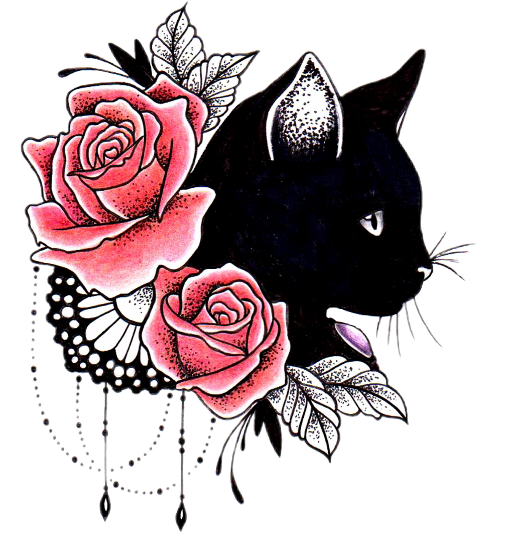 Cat tattoo clipart png library library cat rose tattoo competition - Sticker by Любовь png library library