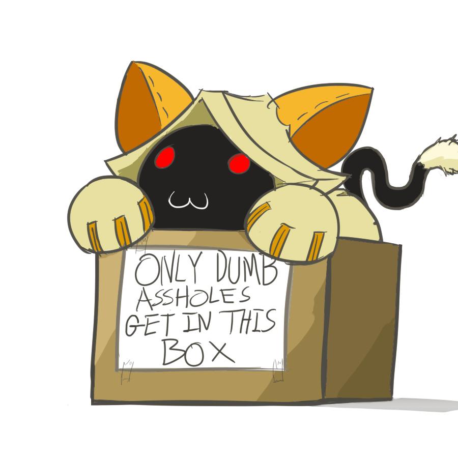 Cat under box clipart
