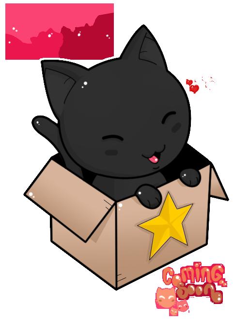 Kawaii black cat clipart svg black and white download neko Box shared by @XXxLillylonelinessxXX on We Heart It svg black and white download