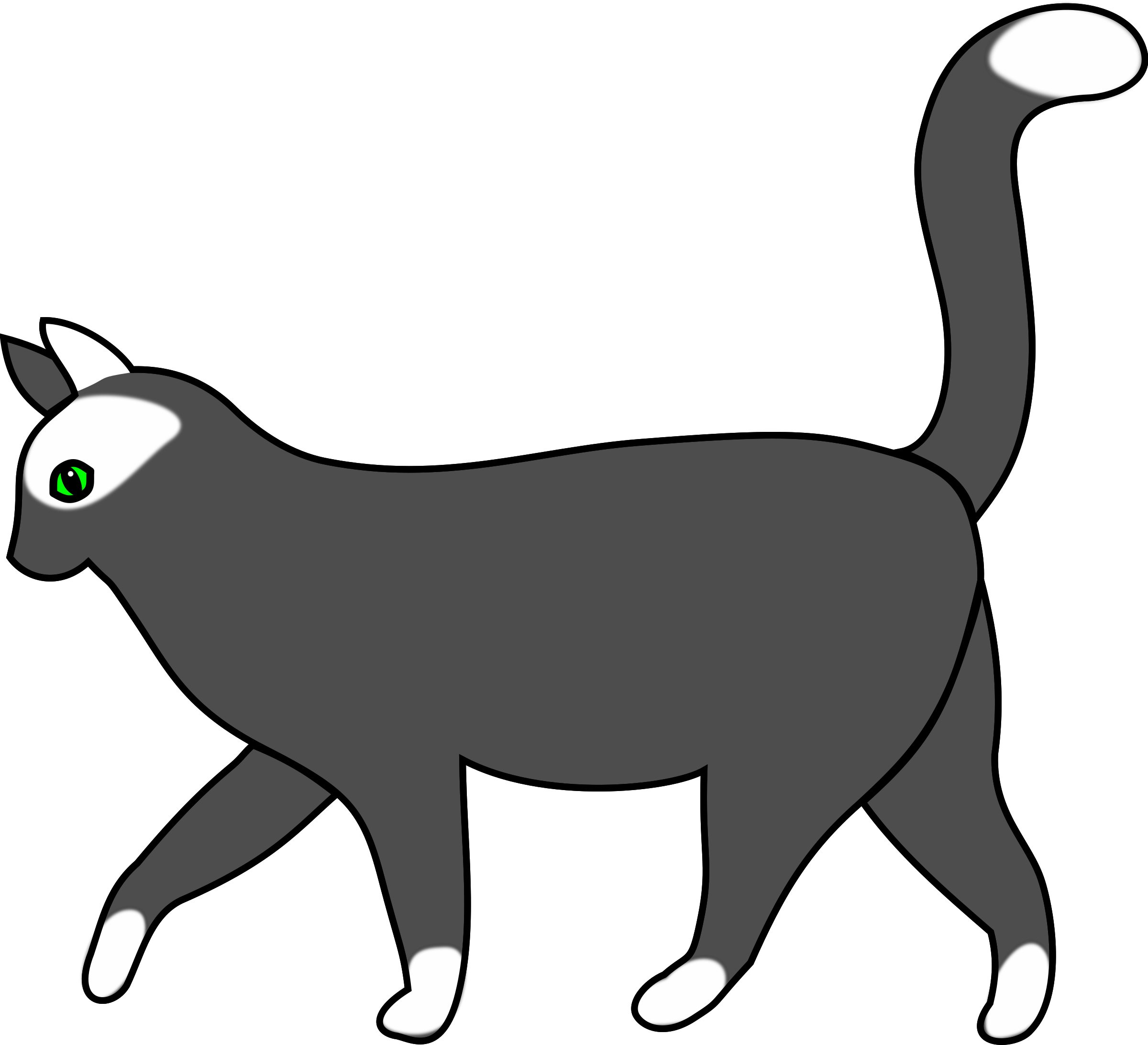 Cat walking clipart png free stock Clipart - white cat walking 1 png free stock