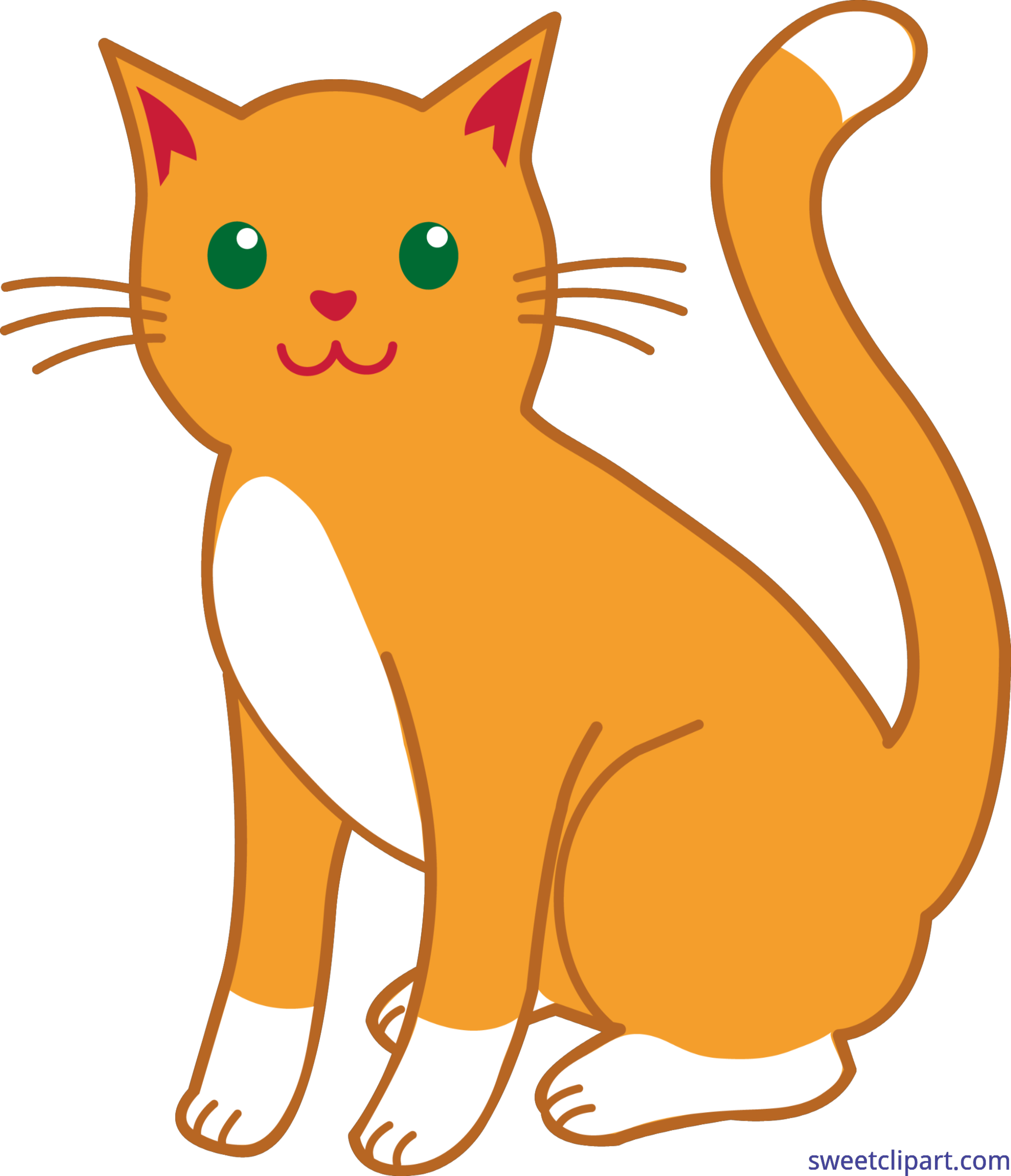 Old cat clipart banner free library Orange Cat Simple Clip Art - Sweet Clip Art banner free library