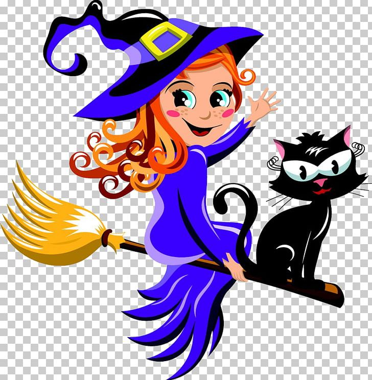 Cat with broom clipart banner freeuse Black Cat Witchcraft Halloween PNG, Clipart, Artwork, Black Cat ... banner freeuse