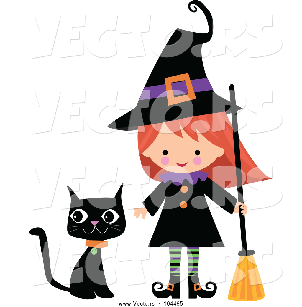 Cat with broom clipart image library stock Vector of Cartoon Cute Halloween Witch with a Broom and Black Cat by ... image library stock