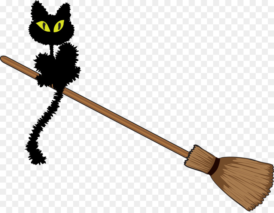 Cat with broom clipart clipart black and white stock Halloween Black Cat png download - 2301*1776 - Free Transparent ... clipart black and white stock