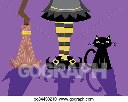 Cat with broom clipart picture Vector Art - Witch feet broom cat shadows. Clipart Drawing ... picture