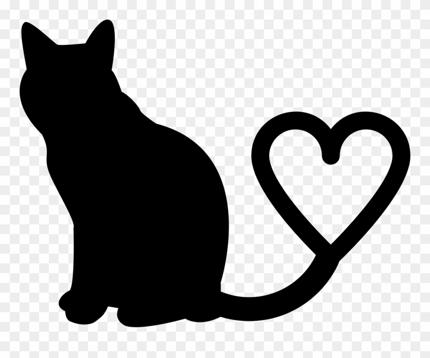 Cat with heart clipart image free stock Clipart - Two Cats Silhouette Tail Heart - Png Download (#395239 ... image free stock