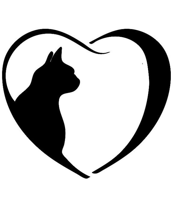 Cat with heart clipart clip black and white library Cat heart clipart clip black and white library