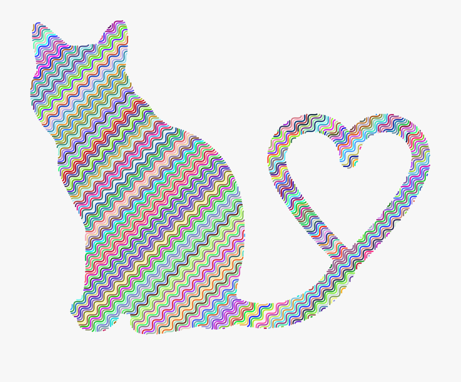 Cat with heart clipart svg library download Cat Silhouette Tail Big Image Png Ⓒ - Cat Heart Transparent ... svg library download