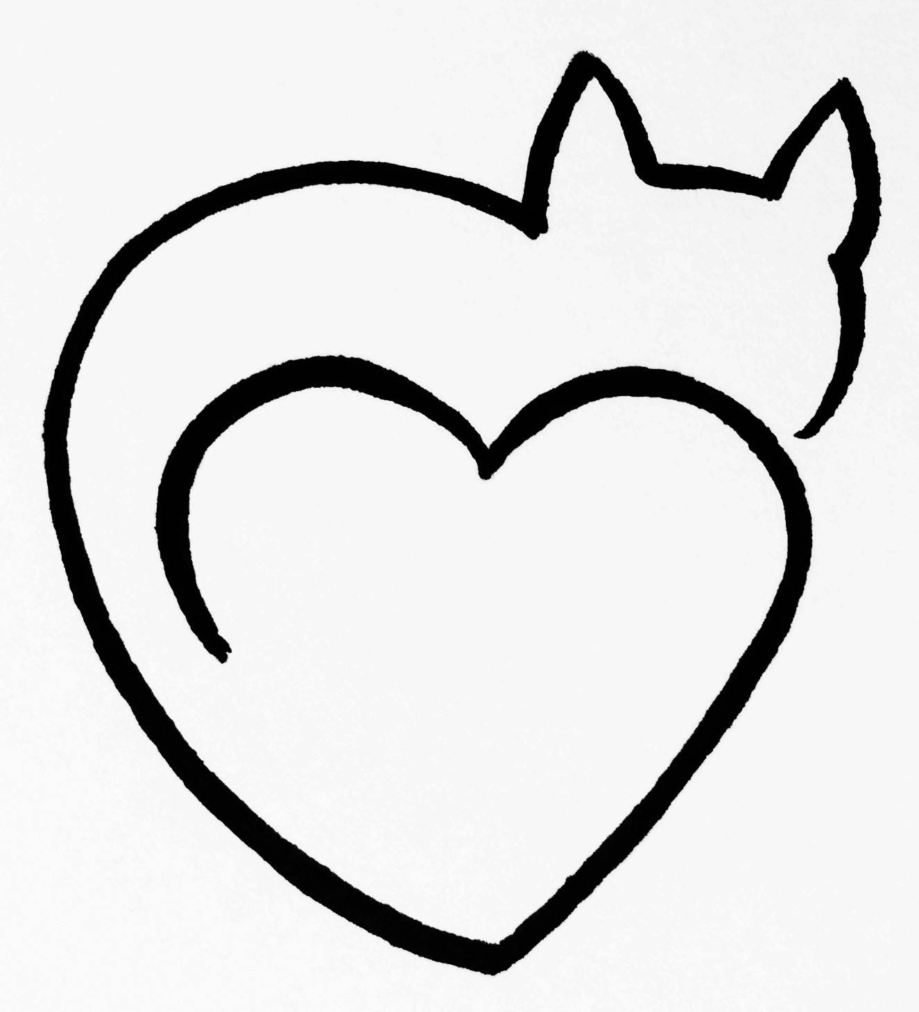 Cat with heart clipart vector black and white stock Cat Heart Clipart Black And White One Line Art By Minh Tan | Tattoos ... vector black and white stock