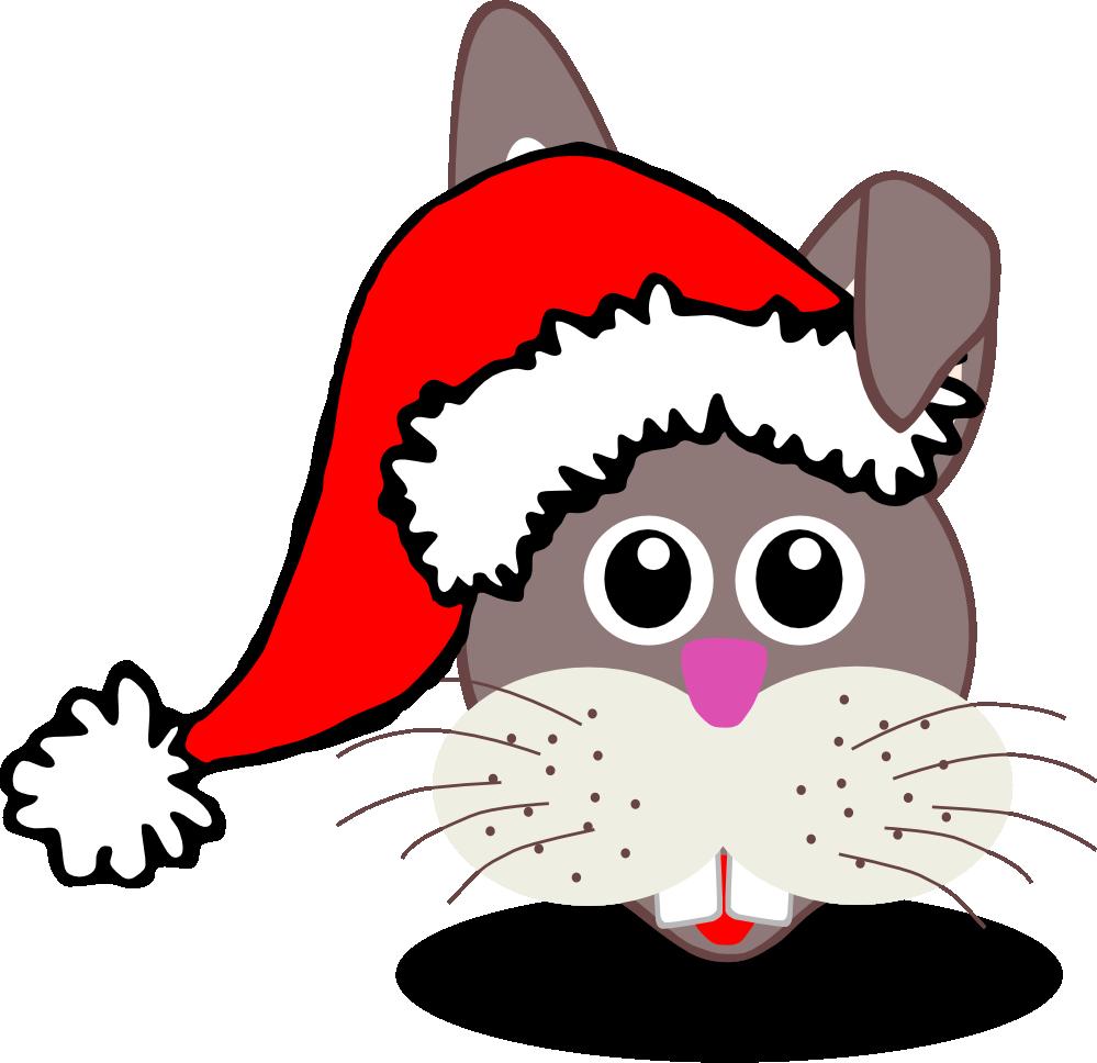 Cat with santa hat clipart vector transparent stock clipartist.net » Clip Art » rabbit face c oon with santa hat xmas ... vector transparent stock