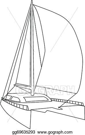 EPS Vector - Sailing catamaran. Stock Clipart Illustration ... svg black and white