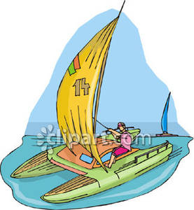 A Person Sailing a Catamaran Royalty Free Clipart Picture jpg transparent