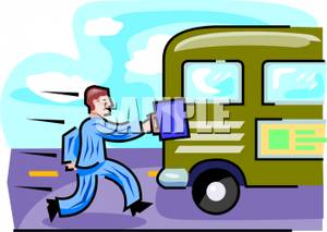 Clip Art Image: A Businessman Running To Catch the Bus svg freeuse