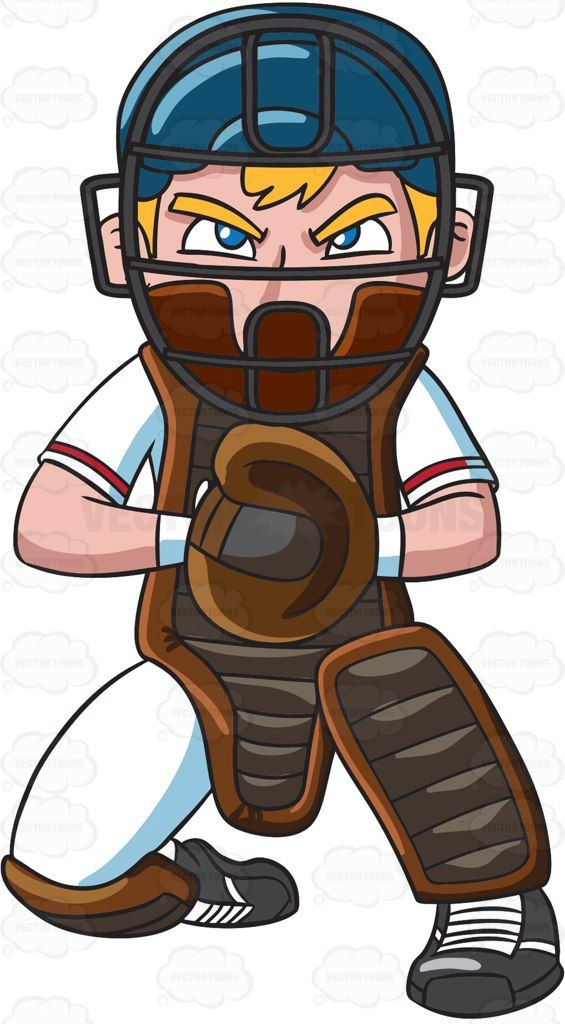 Catchers clipart image black and white download A baseball catcher fiercely concentrates during a game #cartoon ... image black and white download