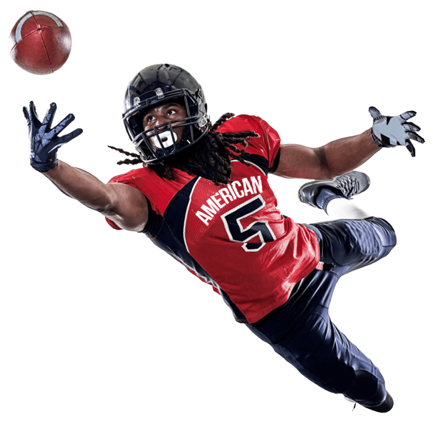 Defensive football player clipart graphic american football player catching a ball png - Free PNG Images | TOPpng graphic