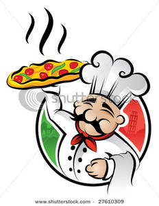 Catering chef clipart vector library Art Image: An Italian Cartoon Chef with a Freshly Baked Pizza vector library