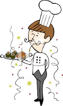 Catering chef clipart clip art transparent stock Royalty Free Clipart Image: Catering Chef Serving Food at a New ... clip art transparent stock