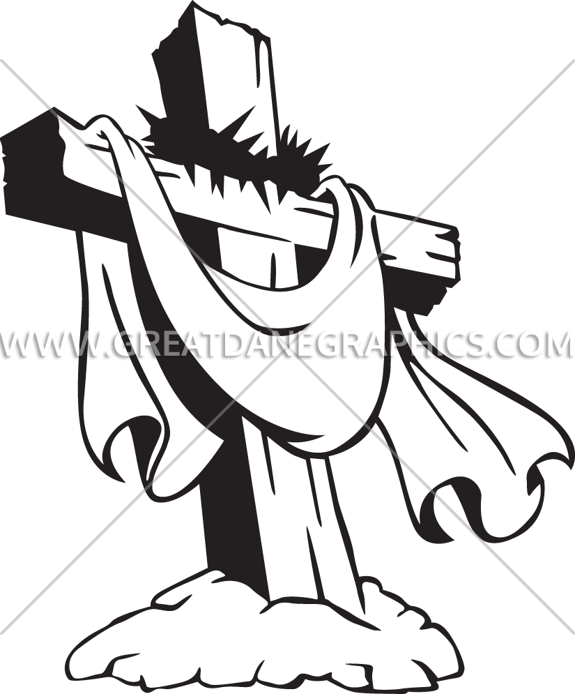 Catholic clipart of the crown of thorns and cross free Cross With Crown Of Thorns | Production Ready Artwork for T-Shirt ... free