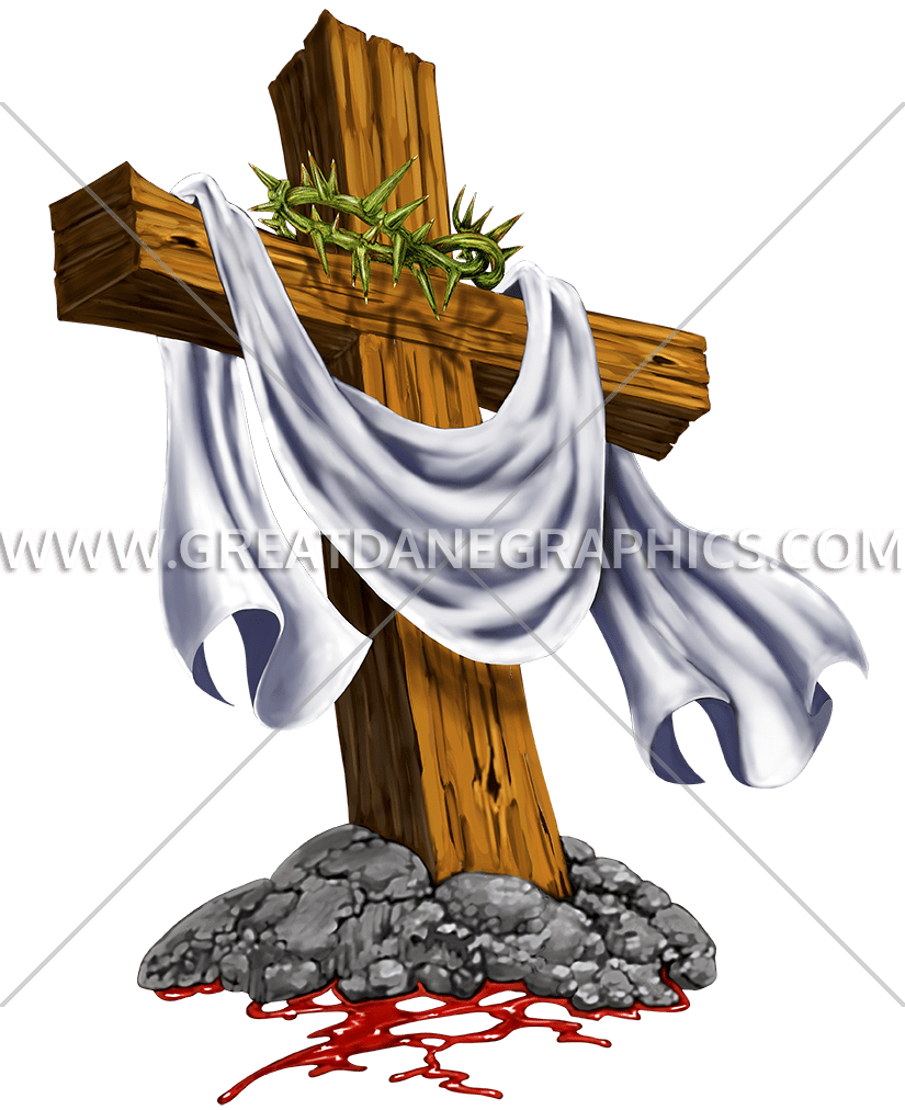 Crown of thorns transparent background clipart jpg black and white stock Cross With Crown Of Thorns | Production Ready Artwork for T-Shirt ... jpg black and white stock