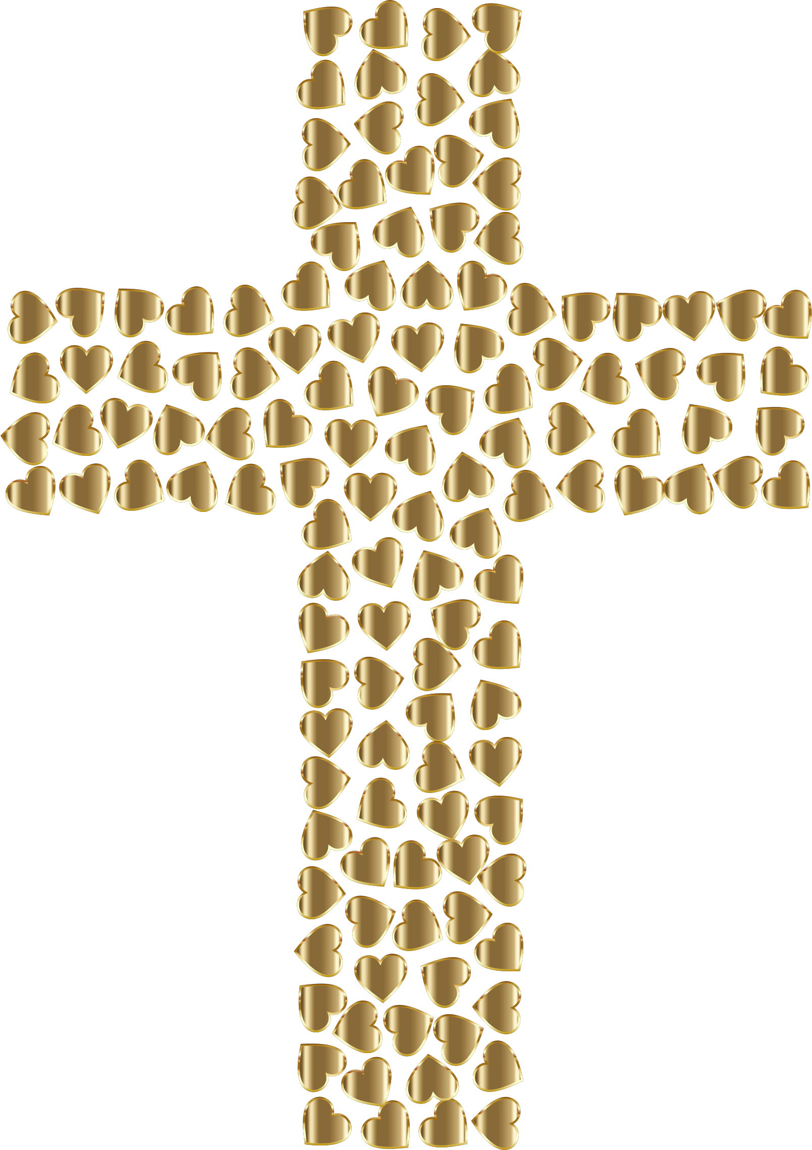 Catholic cross antique clipart png stock Clipart - Golden Hearts Cross No Background png stock