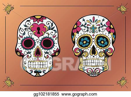 Vector Illustration - Decorated skulls. la calavera catrina. EPS ... clipart library