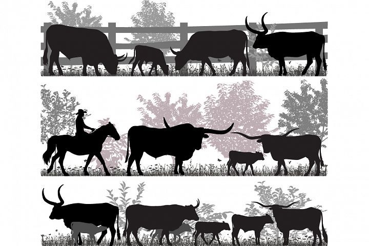 Cattle drive black and white clipart free clip royalty free library Texas longhorn cattle | Silhouettes Clip Art | Longhorn cattle ... clip royalty free library