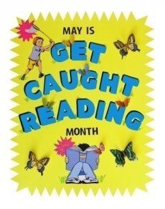 Caught reading clipart clip download May is get caught reading month | Bulletin Boards | Reading posters ... clip download