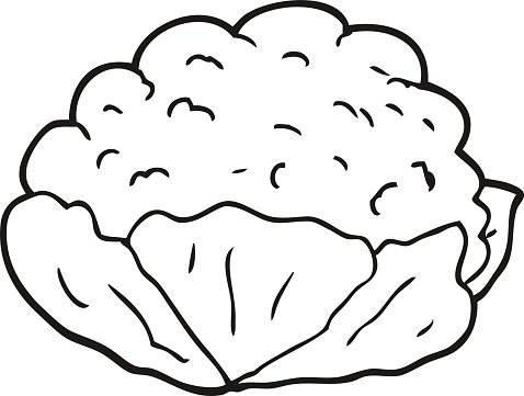 Cauliflower clipart black and white picture transparent library Black and White Cartoon Cauliflower premium clipart - ClipartLogo.com picture transparent library