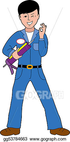 Drawing - Caulking guy. Clipart Drawing gg53784663 - GoGraph clip art
