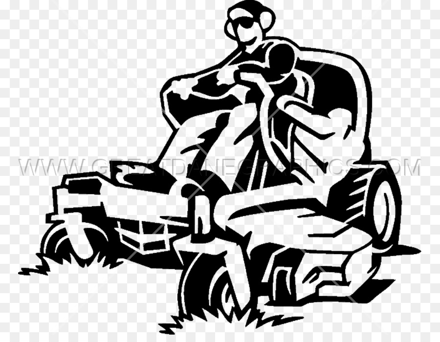 Riding lawn mower black and white with clipart