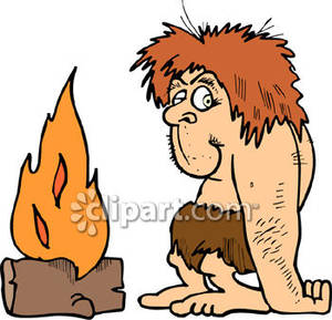 Caveman Sitting By a Fire - Royalty Free Clipart Picture svg free stock