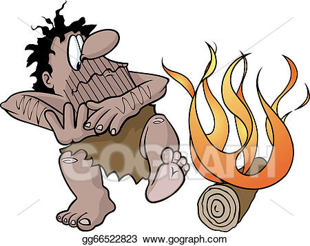 Vector Stock - Caveman with fire. Clipart Illustration gg66522823 ... graphic free stock