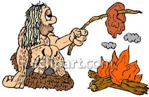 Caveman Cooking Over Fire - Royalty Free Clipart Picture clip free library