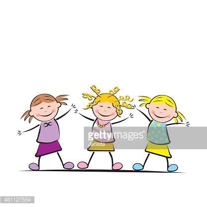 Cavort clipart clip stock Three Jumping Girls premium clipart - ClipartLogo.com clip stock