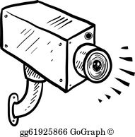 Surveillance Camera Clip Art - Royalty Free - GoGraph image black and white