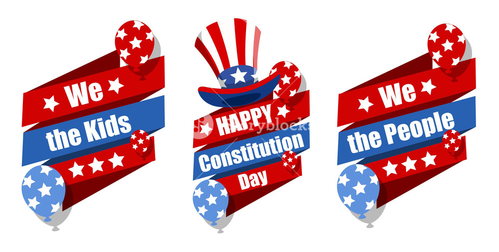 Celebrating constitution day clipart banner library download Celebration Banner Designs Constitution Day Vector Illustration ... banner library download