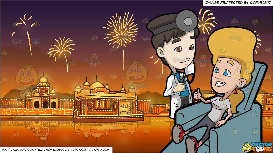 A Happy Woman Giving Thanks To Her Dentist After A Tooth Extraction and  Fireworks Display Celebrating Diwali Background clip art download