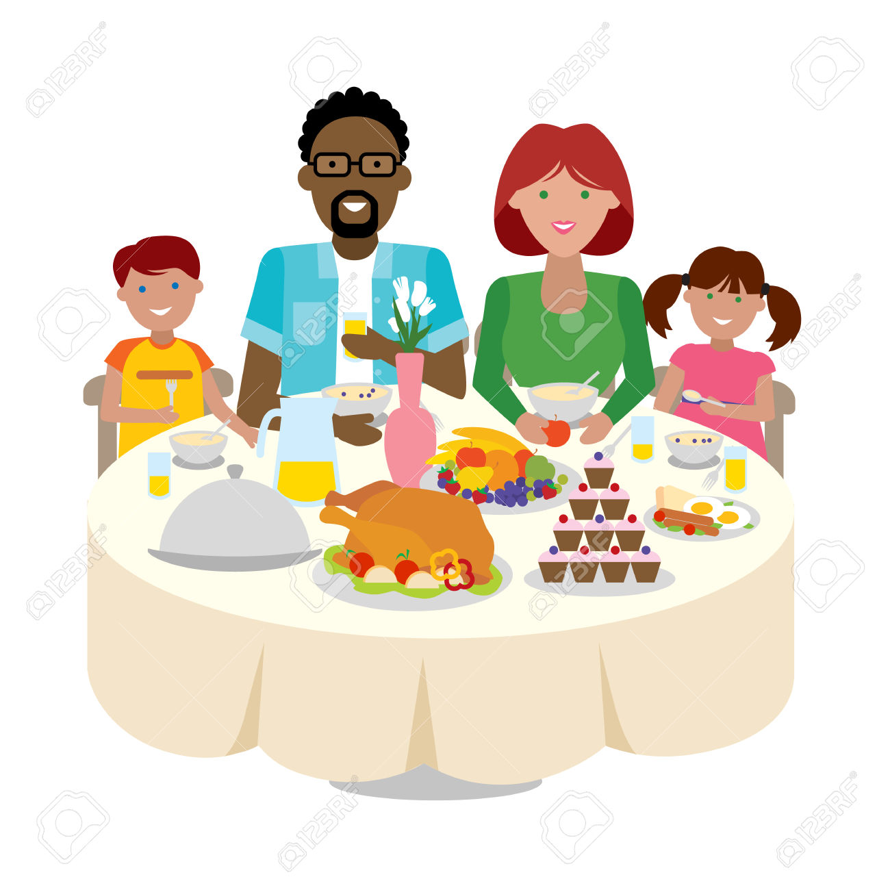 Celebration dinner clipart black and white download Family Dinner Table Clipart | Free download best Family Dinner Table ... black and white download