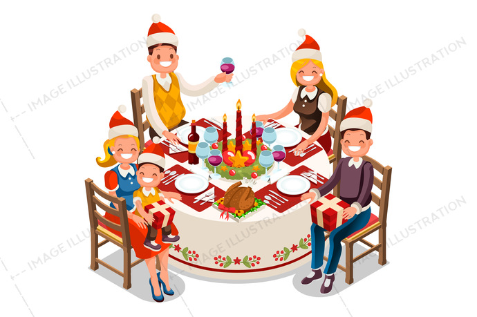 Celebration dinner clipart clipart transparent Christmas Dinner Party Vector Illustration clipart transparent