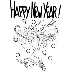 Happy new year black and white free clipart svg freeuse black and white happy new year celebration vector cartoon art clipart.  Royalty-free clipart # 400559 svg freeuse