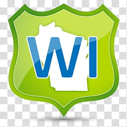 US State Icons, WISCONSIN, green and blue WI transparent background ... image black and white library